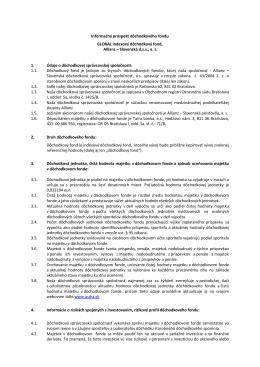 Informačný prospekt dôchodkového fondu GLOBAL