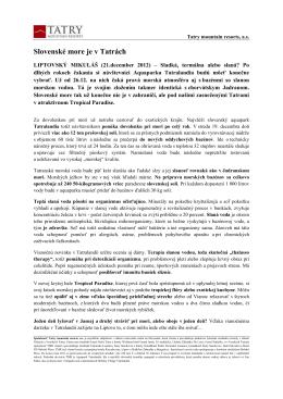 Slovenské more je v Tatrách - 21.december 2012