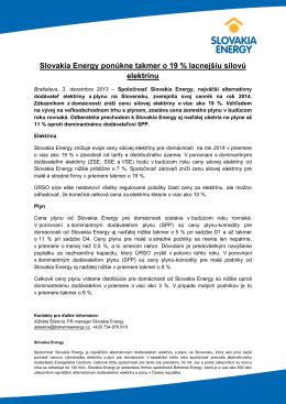 Slovakia Energy ponúkne takmer o 19