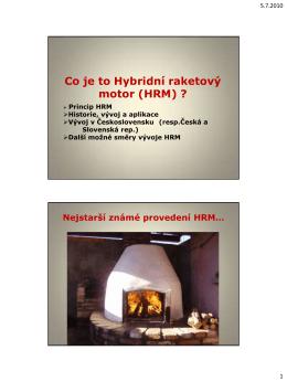 Co je to Hybridní raketový motor (HRM) ?