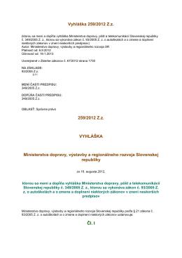 Vyhláška 441/2011 Z - Autoskolaportal.sk