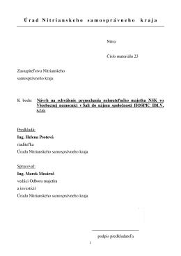 Material c23 - Nitriansky samosprávny kraj