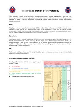 Interpretácia profilov a testov stability