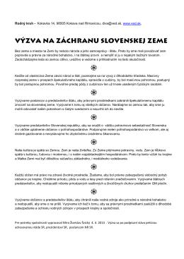 výzva na záchranu slovenskej zeme