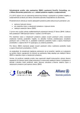 Vyhodnotenie prvého roku spolupráce ZBHS s partnermi EuroFin
