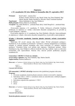 Zápisnica z 15. zasadnutia OZ obce Rišňovce konaného dňa 25