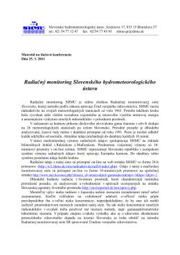 Radiačný monitoring Slovenského hydrometeorologického ústavu