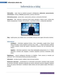 Informácia a údaj