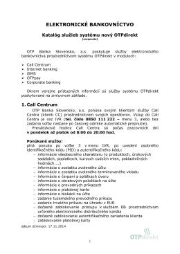 Katalóg služieb OTPdirekt-corporate