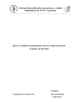 Správa o výsledkoch a podmienkach výchovno - csuv