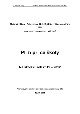 Plán práce školy - Materská škola NMNV