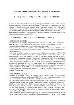 Plán práce školy na školský rok 2014/2015