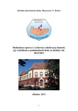 Hodnotiaca správa - Stredná zdravotnícka škola, Moyzesova 17