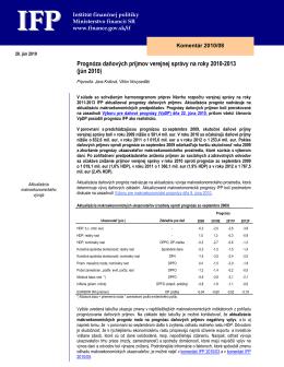 Prognóza daňových príjmov verejnej správy na roky 2010
