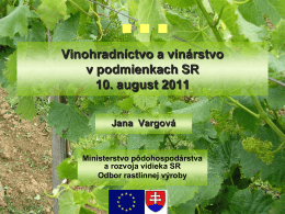Vinohradníctvo a vinárstvo v podmienkach SR 10