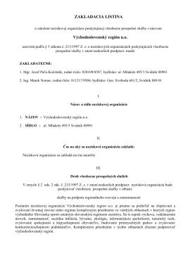 Zakladacia listina o založení neziskovej organizácie 2013