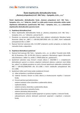 Štatút doplnkového dôchodkového fondu - NN Tatry