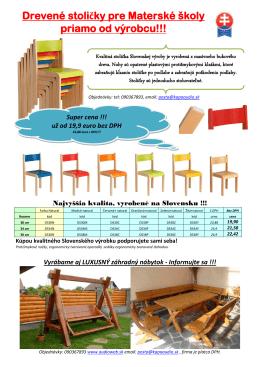Drevené stoličky pre Materské školy priamo od výrobcu!!!