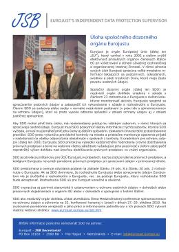 Úloha spoločného dozorného orgánu Eurojustu