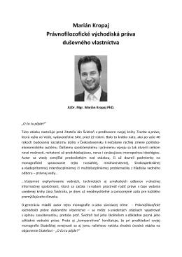 M. Kropaj Právnofilozofické východiská práva duševného vlastníctva