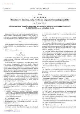 Novela č. 224/2011 vyhlášky o základnej škole
