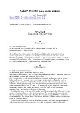 ZÁKON 595/2003 Z.z. o dani z príjmov