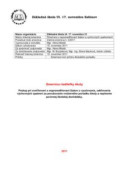 Smernica o ospravedlňovaní žiakov a výchovných opatreniach