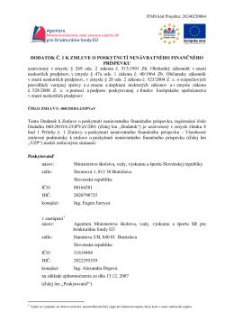 Dodatok č.1 k Zmluve o poskytnutí nenávratného finančného