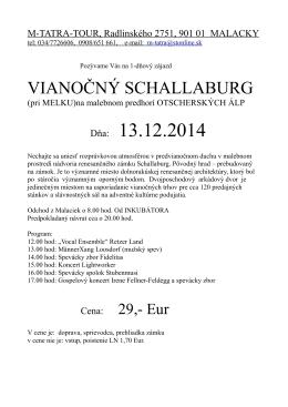 Vianočný Schallaburg len za 29 Eur - M-TATRA-TOUR
