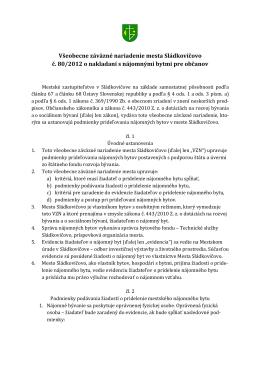 Všeobecné záväzné nariadenie č. 58 o nakladaní s nájomnými
