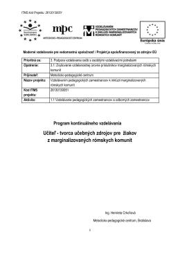 Program: Učiteľ - tvorca učebných zdrojov pre žiakov z