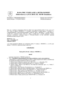 RZL/038/2013 - Rada pre vysielanie a retransmisiu