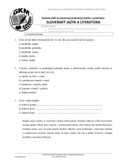 Vzorové úlohy zo slovenského jazyka