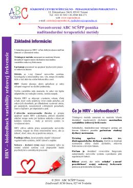 HRV – biofeedback variability srdcovej frekvencie