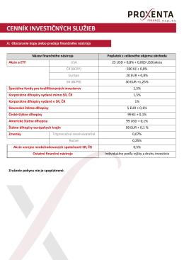 cenník investičných služieb