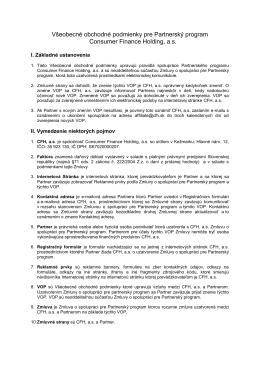 Všeobecné obchodné podmienky pre Partnerský program