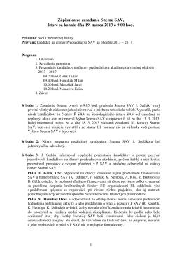 Zápisnica zo zasadnutia Snemu SAV 19. 3. 2013