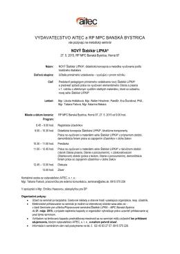 Pozvánka na seminár Nový Šlabikár LIPKA