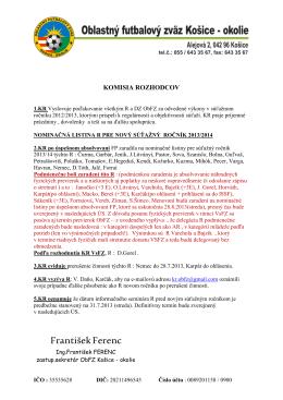 Úradná správa KR zo dňa 30.06.2013 - ObfZ Košice