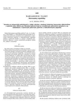 Nariadenie vlády SR č. 426/2010 Z.z.