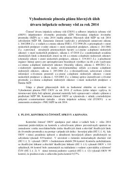 Vyhodnotenie činnosti za rok 2014 - Slovenská inšpekcia životného