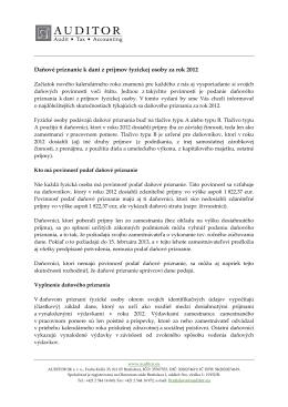 Daňové priznanie k dani z príjmov fyzickej osoby za rok 2012