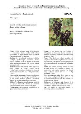 Eva - Výskumný ústav ovocných a okrasných drevín as Bojnice