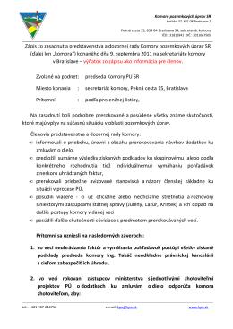 výňatok zo zápisu - Komora pozemkových úprav SR