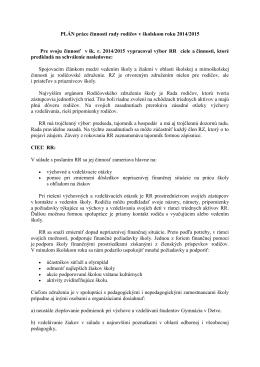 PLÁN práce činnosti rady rodičov v školskom roku 2014/2015