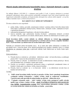 Hlavné zásady odstraňovania havarijného stavu v bytových