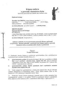 Kúpna zmluva o prevode vlastníctva bytu