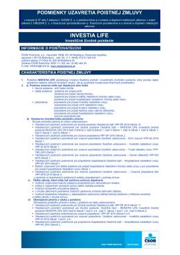 Informácia o podmienkach uzatvorenia zmluvy