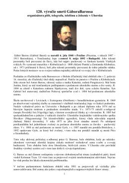 120. výročie smrti GáboraBarossa