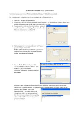 Postup uvedenia POS terminálu do prevádzky a - MK-soft